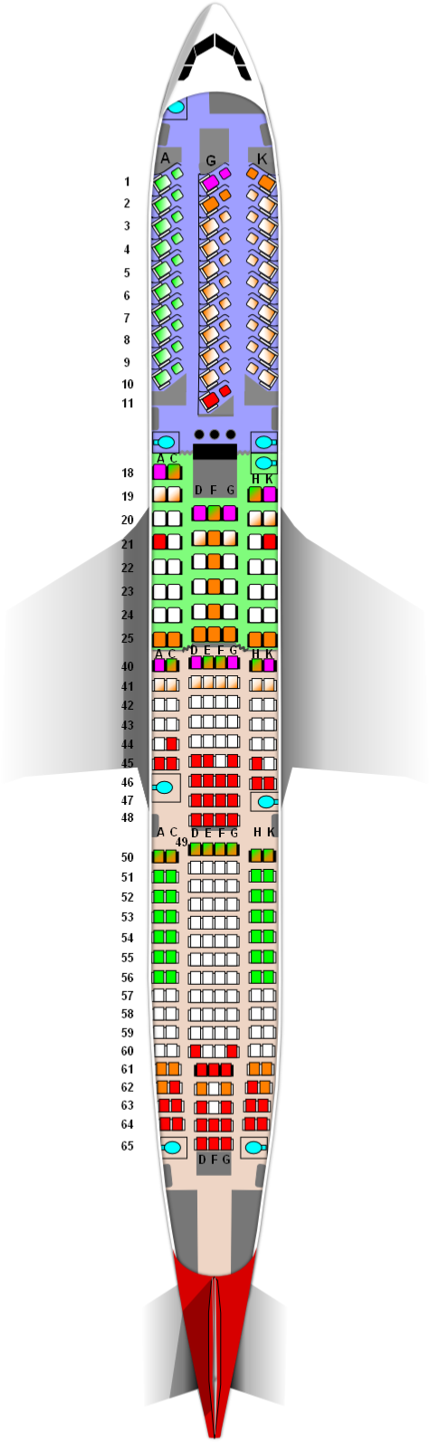 Virgin Atlantic A330-300 31J/48W/185Y Seat Map
